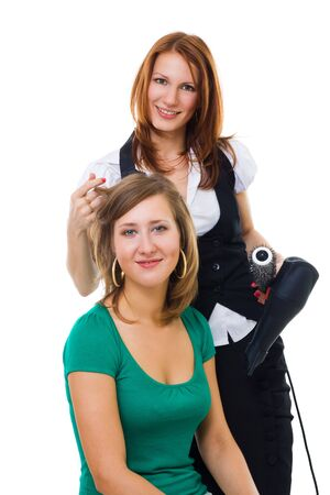 haircutting: Hairdresser make hiir styling to woman and smiling