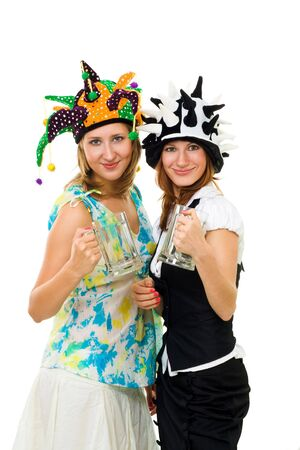 two women fans with glasses for beer looking forward to go to sprot bar photo
