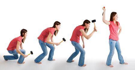 human evolution: Evolution of mainkind representd by woman with hammer Stock Photo