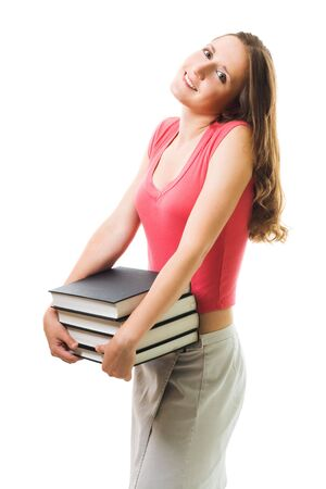 cary: Woman cary pile of books in red casual shirt smiling