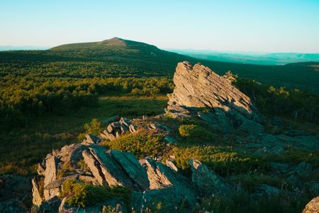 urals: Urals mountain view with rocks and view to highest peak of south Ural Stock Photo