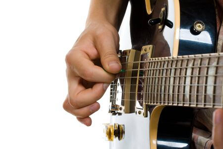 How to hold guitar pick playing electric guitar photo