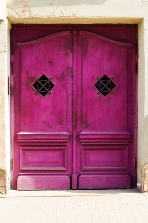 old purple wood vintage wing door Stock Photo - 5382263