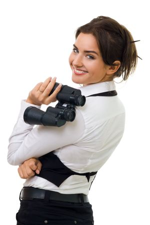 Young happy woman hold binocular turning and look back and smiling Stock Photo - 5372173
