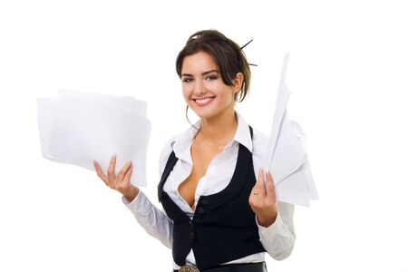 Business woman hold documents with standing, smiling and looking at camera Stock Photo - 5372176