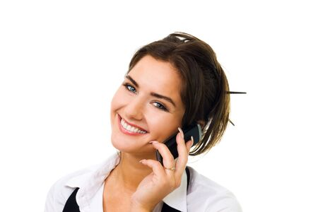 Young woman with big amazing smile speaking on cell phone Stock Photo - 5372171