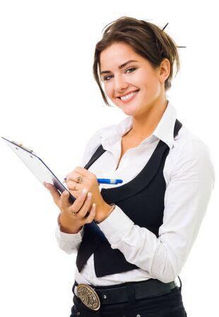 Happy kobieta z dużym uśmiechem pisać na tabletki, patrzeć na aparat, izolowane na białym