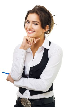 woman isolated: Confident young business woman with pen and amazing smile look at camera isolated on white Stock Photo