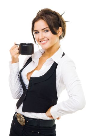 Woman standing with cup of coffee, smile and look at camera, isolated on white Stock Photo