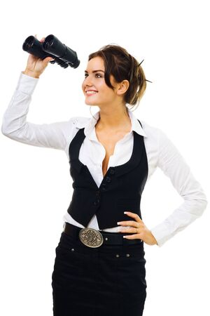 Woman in formal clothes standing and looking into binocular, side view,isolated on white Stock Photo - 5414692
