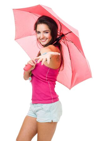 Young woman with color pink umbrella asking to go with her,isolated on white