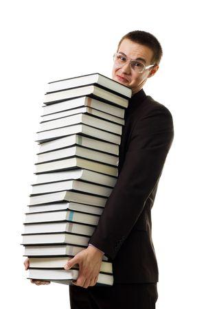 Man hold huge ammount of books expressing negativity isolated on white photo