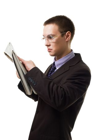 Shocked man read newspaper,in suit and glasses,isolated on white photo