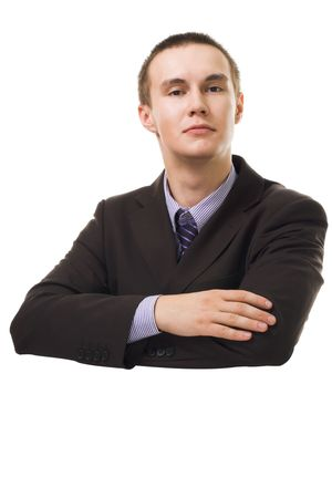 Young confident bussiness man lan on blank isolated white surface photo