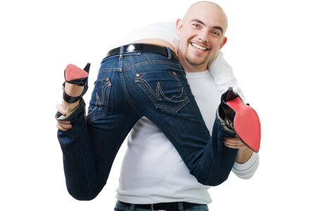 stole: lucky young bold man stole woman bottom and legs,isolate on white Stock Photo
