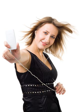 flying hair: Woman listen music in a portable player with flying hair,isolated on white
