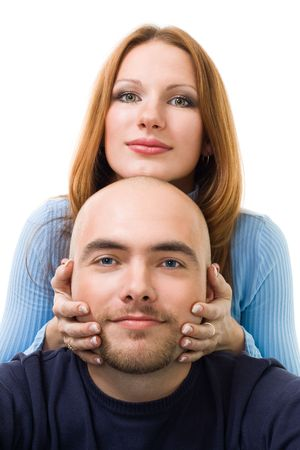 beard woman: Couple, young positive woman touching mens beard and look at camera,isolated on white Stock Photo
