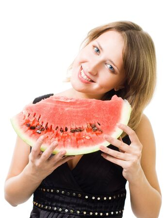 savour: One woman eat and savour lobule of watermelon standing together,isolated on white