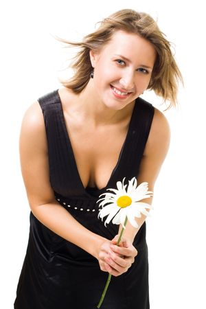 Happy beautiful woman smile holding flower camomile,isolated on white photo
