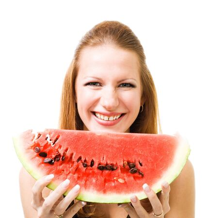 Woman with piece of watermelon laughing and look at camera isolate on white photo