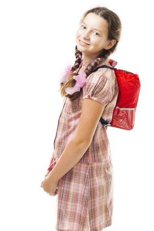 back packs: Teenager girl with back pack smile