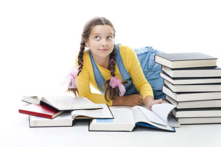 prodigy: Clever teenager girl with books,isolated on white