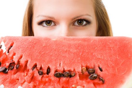 Face of a woman with watermelon, isolated on white photo