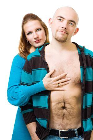 nackte brust: Frau Stand mit ihr Freund halten seiner bare Brust, isoliert auf wei� Lizenzfreie Bilder