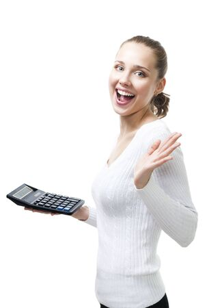 Happy woman with calculator stand with mouth open in white,isolated Stock Photo