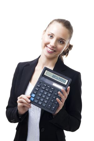 Confident young woman stand holding calculator and smile,isolated on white Stock Photo - 5752411