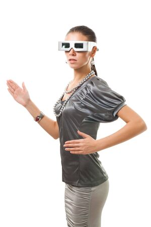 Woman robot in futuristic glasses and silver clothes isolated on white Stock Photo - 5770464