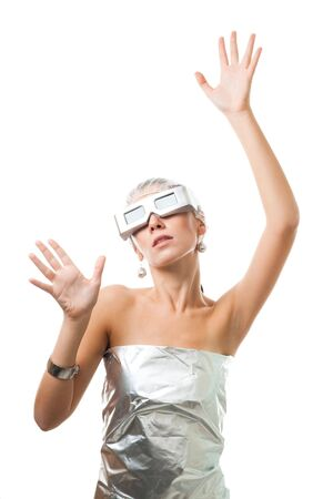 Futuristic technological woman in virtual reality glasses, isolated on white Stock Photo - 5764307