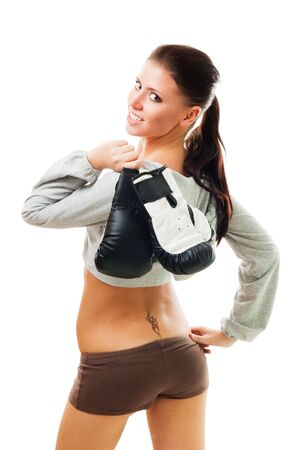 Zuversichtlich, sexy Frau mit Boxhandschuhen, lokalisiert auf Weiß Lizenzfreie Bilder - 5807627