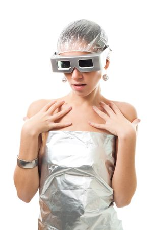 Artificial intelligence woman in silver metallic clothes and glasses, fashion like, isolated on white Stock Photo - 5807631