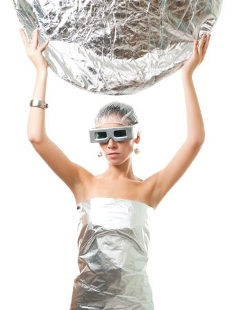 Future robot woman with metallic disk, wear silver glasses, wrapped in foil, isolated on white photo