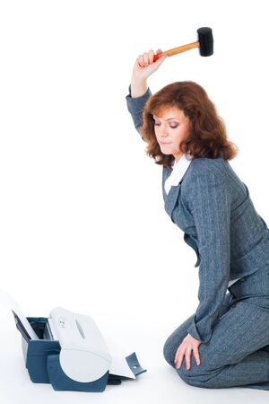 office printer: Business woman hate priter hitting it with hammer, isolated on white