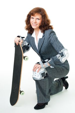 Bussiness woman smile, hold skate and wear protection, isolated on white photo