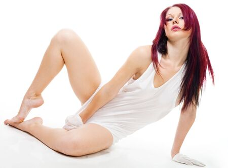 sexy woman in men's shirt laying on the floor Stock Photo - 6049540