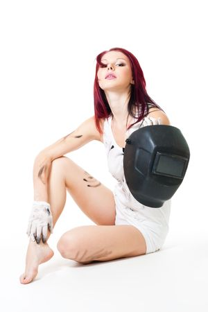 attractive woman sit with welder mask Stock Photo - 6049544