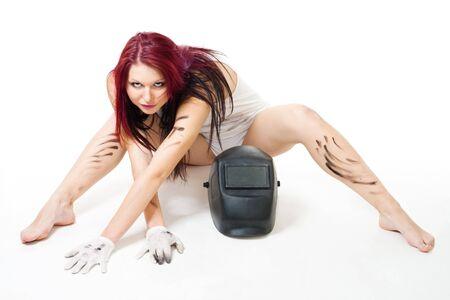 soldador: Atractiva mujer sucia, posando