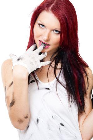 dirty girl: Donna attraente con vestiti sporchi  Archivio Fotografico