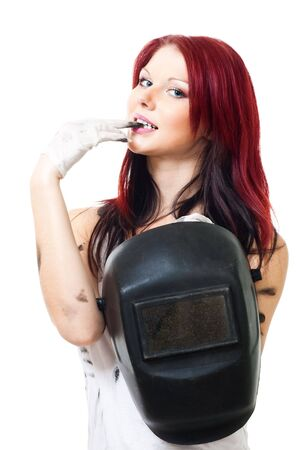 Sexy looking attractive woman welder standing with mask Stock Photo - 6049570