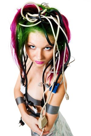 Woman with color hair and wires look up photo