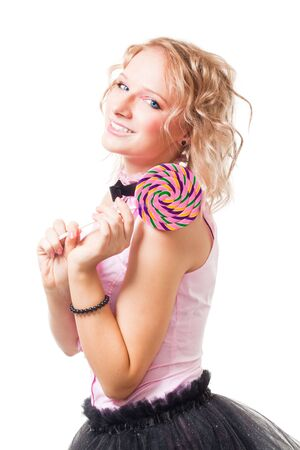 Happy blond girl with candy lollipop in pink smile, isolated Stock Photo - 6086089