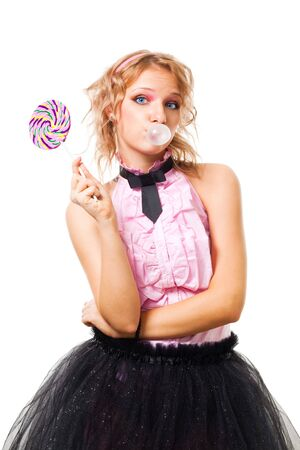 blow up: Woman blow up bubblegum and hold candy, isolated on white Stock Photo