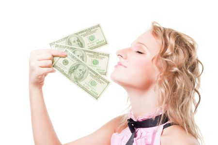 Portrait of beautiful attractive blond woman smell money, isolated on white photo
