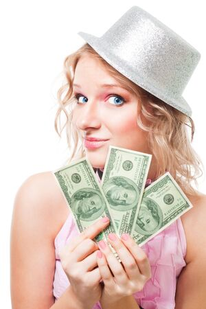 Magician woman with cash dollars make a trick, isolated photo