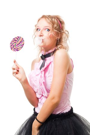 bubblegum: Funny school girl with bubblegum and lolipop, isolated on white