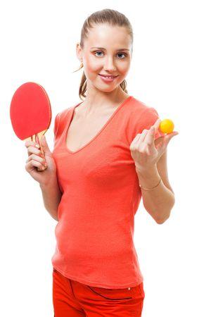 ping pong: Oferta de mujer para jugar tenis de mesa, sosteniendo la raqueta y la pelota