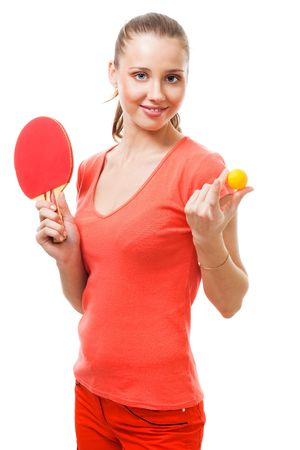 Woman offer to play table tennis holding racket and ball photo